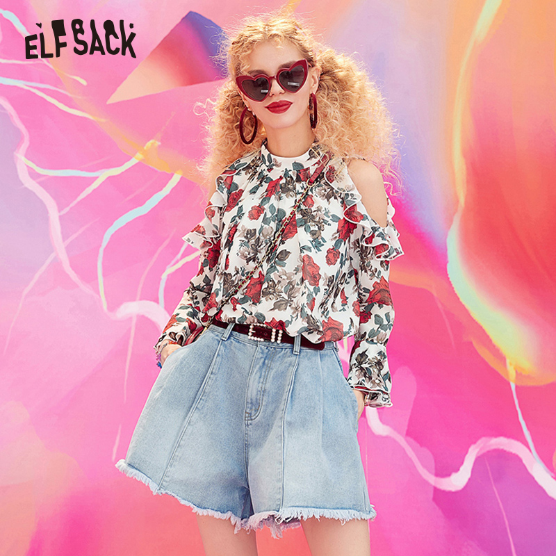 ELFSACK Denim Vintage Light Blue Solid Women Shorts Fashion Mid Waist Simple 2019 New Arrival Cowboy Loose Casual Female Shorts