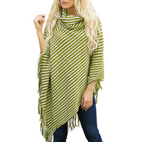 DSQUAENHD Striped Turtleneck Capes Cloak Casual Loose Pullover Tassel Women Capes Winter 2018 Cotton Batwing Sleeve Streetwear