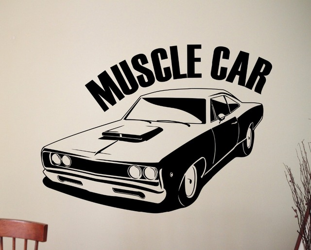 Classic Muscle Car Wall Sticker Removable Vinyl Wall Decal Wall Art Murals Home Decoration Decor adesivo & Classic Muscle Car Wall Sticker Removable Vinyl Wall Decal Wall Art ...