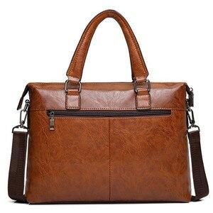 Image 2 - JEEP BULUO sacs à bandoulière en cuir pour hommes, sac à main pour 13 pouces mallette daffaires de marque célèbre de styliste pochette dordinateur, sac à main de voyage 6013