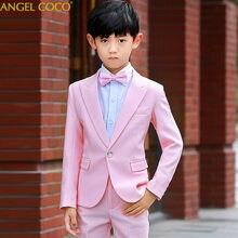 00952d448 Británico 2018 Rosa moda niños bebés niños Blazers traje para bodas fiesta  Formal de la boda Vestido trajes Enfant Garcon mariag.
