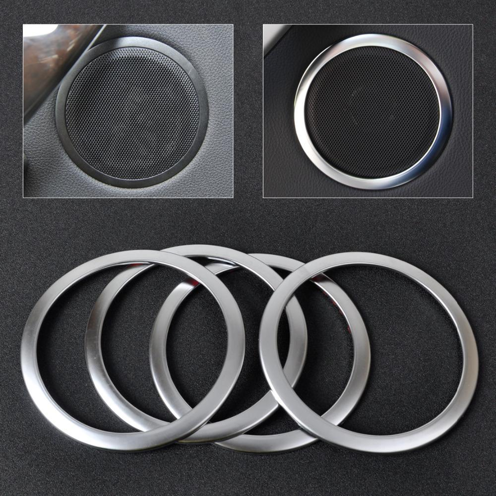 CITALL 4Pcs car styling Chrome Silver Interior Door Stereo Speaker Sound Trim Cover Ring For BMW