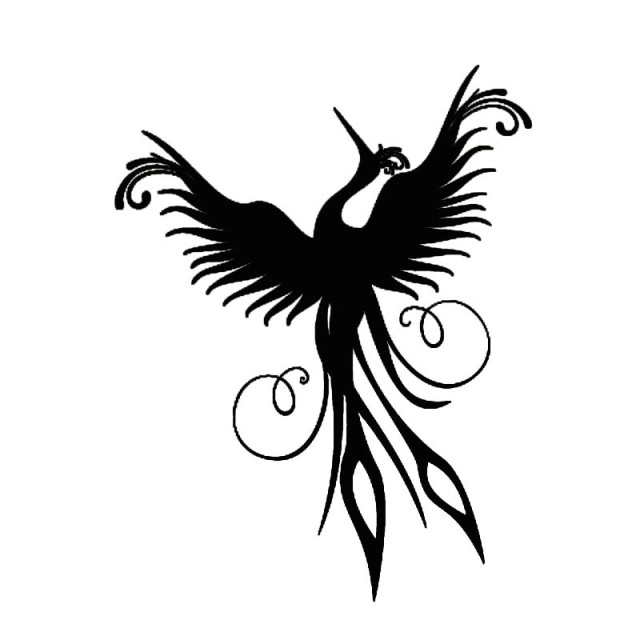 Hot Sale Home Decor Phoenix Wall Sticker Black Vinyl Removable Mural Living  Room Decorative Flying Bird