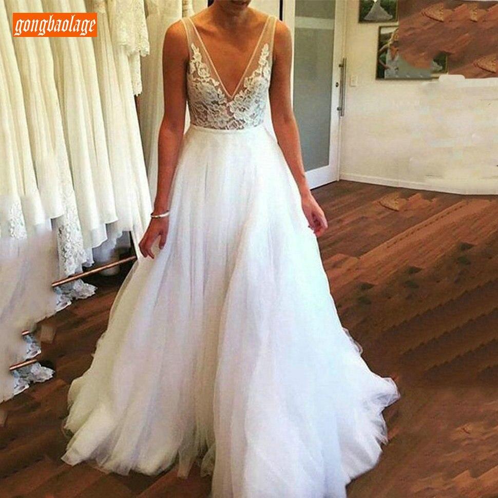 販売よく新デザインソフトチュールホワイトビーチ花嫁のドレスセクシーなディープ V ネックウェディングドレスアイボリースリムフィット王女のウェディングドレス  グループ上の ウェディング & イベント からの ウェディングドレス の中 1