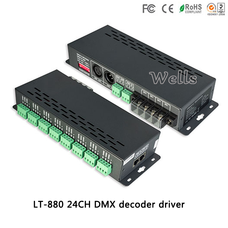 LT-880;led 24CH DMX-PWM Constant voltage Decoder Controller ;DC5-24V 3A*24CH CV PMW output drive for RGB led lights lamp RJ45 fast shipping 3pcs 24ch dmx512 controller decoder ws24luled 24 channel 8groups rgb output dc5v 24v for led strip light module