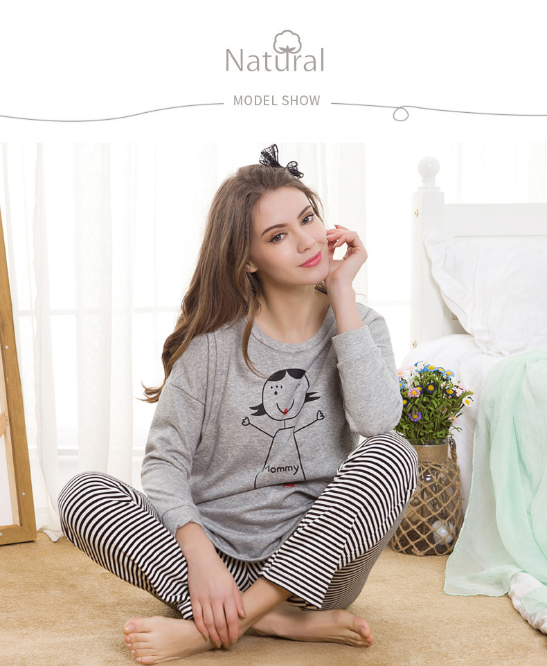 1ae5dcf34cd64 Maternity Nightwear Nursing Pajama Korean Warm Thickening Long Sleeve  Cotton Suit Breastfeeding Sleepwear Pregnancy Clothes A292