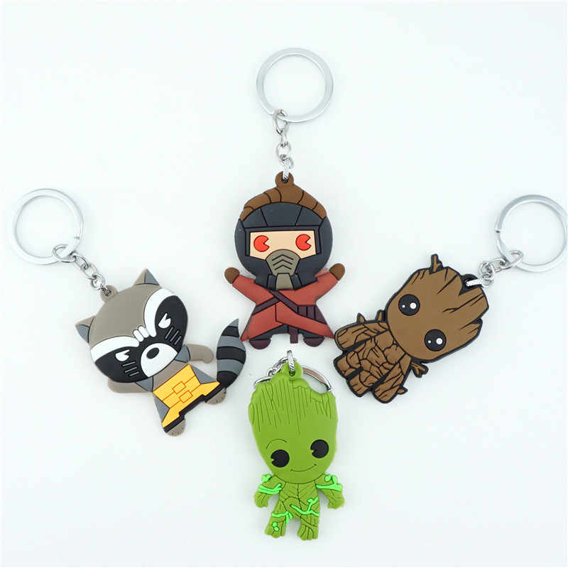 Marvel Guardians of the Galaxy Star-Lord Groot Rocket Raccoon Keychain Keyring Silicone Pendants Key holder Key Ring Accessories