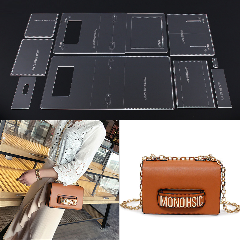 Acrylic Stencil Leather Handmade Craft women`s shoulder bag Sewing Pattern Template Sewing accessories with holes 23x14.5x8cm