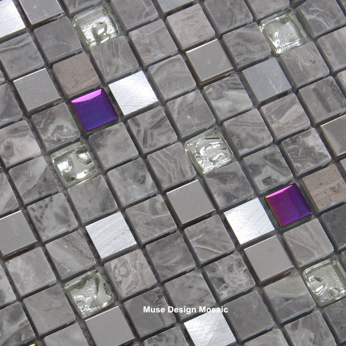 electro chapado de metal mezclado arco iris gris azulejo de mosaico de cristal de piedra de