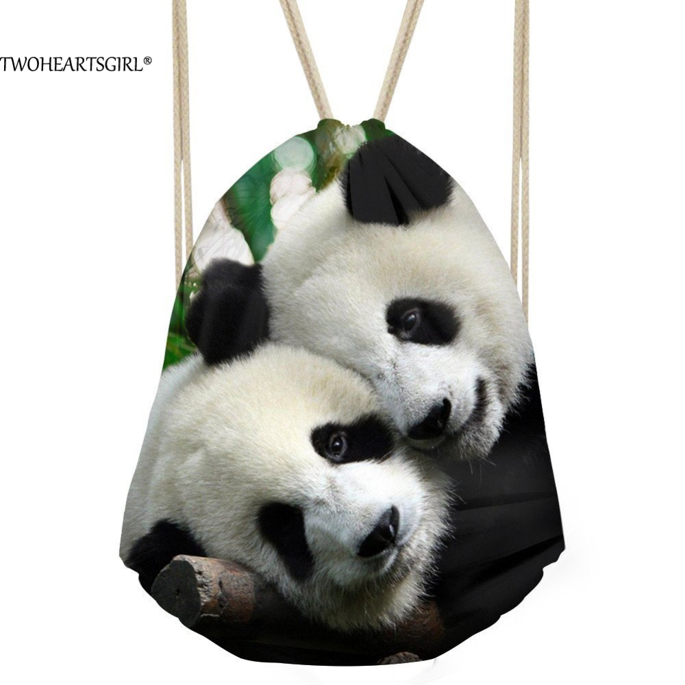 TWOHEARTSGIRL Cute Panda Printing Drawstring Backpack for Women Travel Beach Bagpacks Casual Student School Backbags Mochila