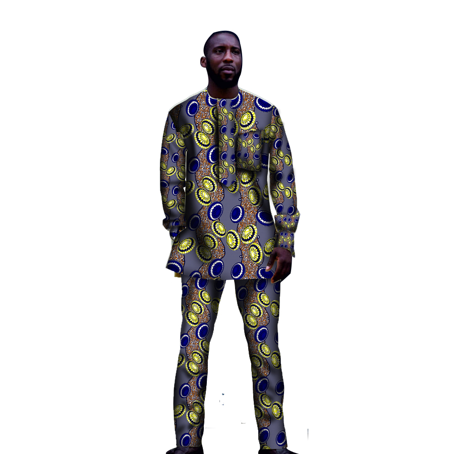 Afrikaanse kleding sets mode mannen tops + broek set mode kleding - Traditionele kleding