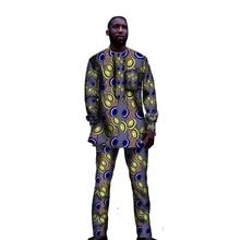 Vêtements Africains Ensembles De Mode Hommes Tops + Pantalon Ensemble De Mode Impression Vêtements Danse Costume Festive Afrique Vêtements Personnalisé