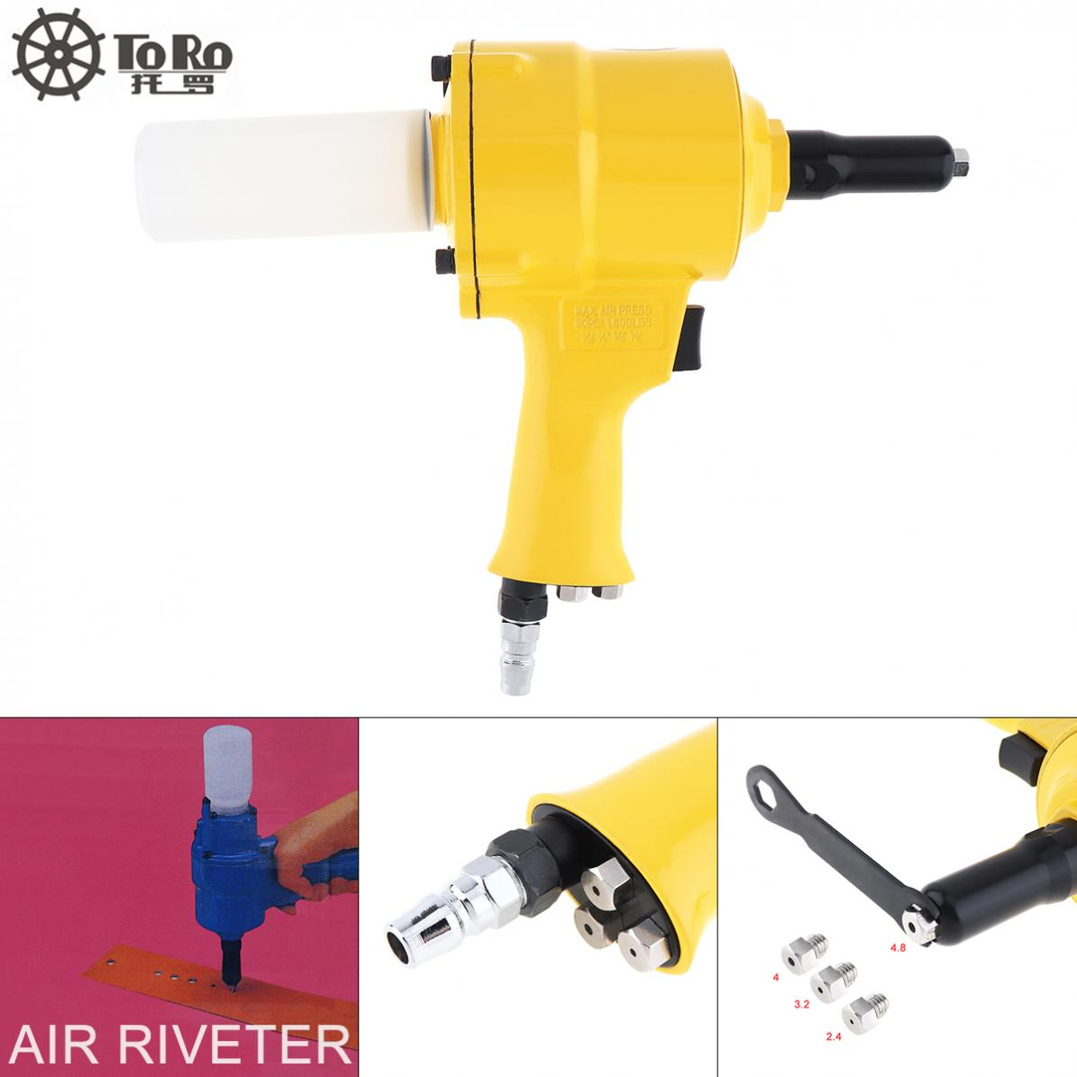 TORO Pistol type Pneumatic Rivet Gun Hydraulic Pop Rivet Pliers Gun with 4 Guide Nozzles and Small Hex Wrench for Punching Nails Pneumatic Tools     - title=