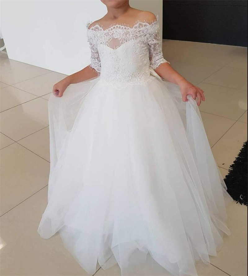 Lace Top Off Shoulder White Tulle   Flower     Girl     Dress   For Wedding   Girls   Holy First Communion Gowns Half Sleeves Custom Made Longo