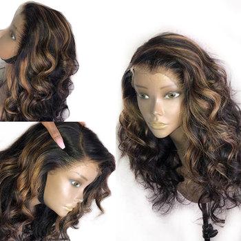 Miód blond koronki przodu peruki podkreślić Preplucked 360 czołowa koronki peruka Remy peruki z ludzkich włosów peruwiański czarnych kobiet peruka body wave tanie i dobre opinie ATINA QUEEN Ciało fala Peruwiański włosów Remy włosy Ciemniejszy kolor tylko Swiss koronki Średni brąz Średnia wielkość