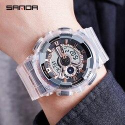 SANDA sportowy zegarek para wielofunkcyjny wodoodporny LED cyfrowy zegarek męski G styl sportowy wodoodporny zegarek relogio masculino