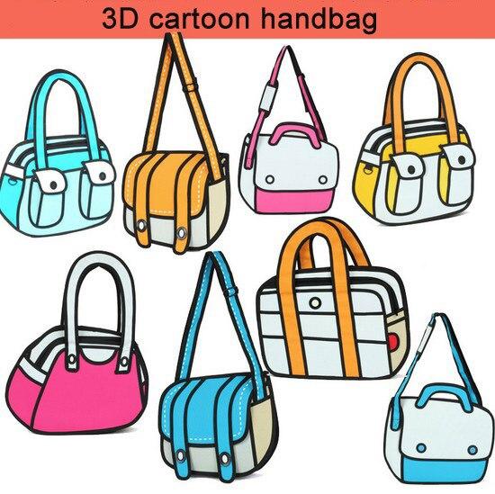 Free Shipping 2d Cartoon Three Dimensional Lovely Female Handbag Drawing Designer