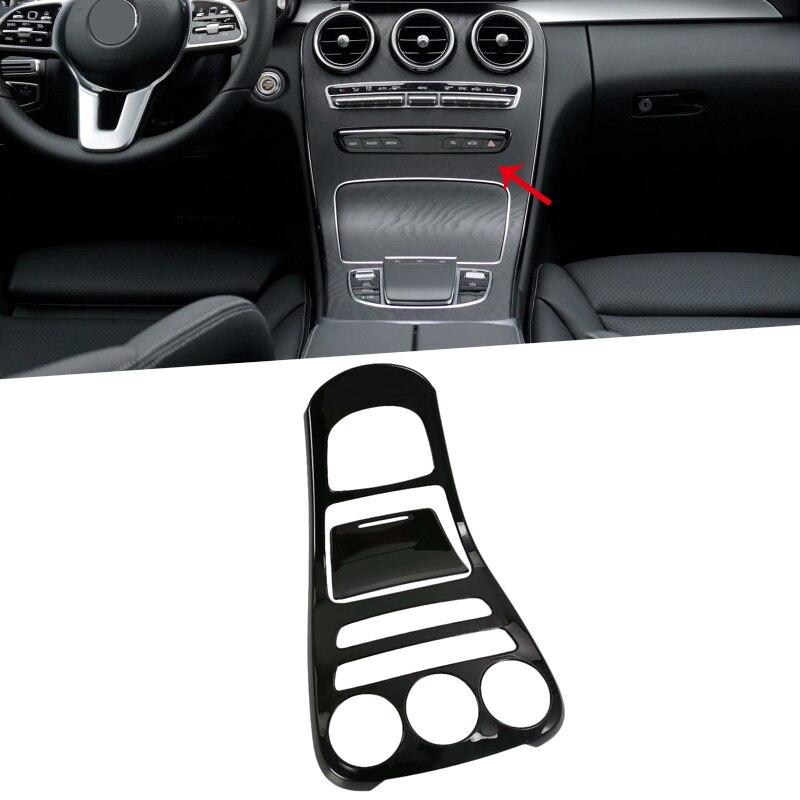 ABS Noir Couleur Center Console panneau de décoration Couverture Garniture Pour Mercedes Benz Classe C W205 2019