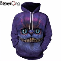 BIANYILONG New Autumn Winter Thin Stylish 3d Sweatshirts Men Women Hoodies With Hat Print Cheshire Cat