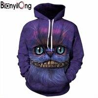 BIANYILONG New Autumn Winter Thin Stylish 3d Sweatshirts Men Women Hoodies With Hat Print Cheshire Cat
