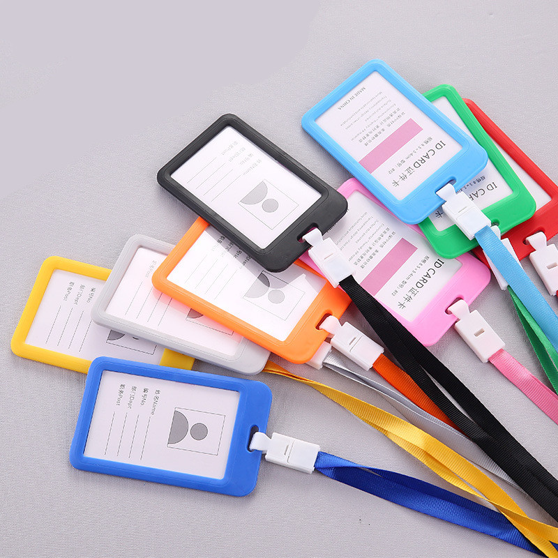 ID Name Credit Card Holders Women Men PU Bank Card Neck Strap Card Bus ID Holders Candy Colors Identity Badge With Lanyard