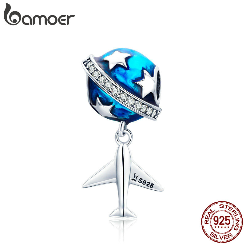 BAMOER Real 925 Sterling Silver Sparkling Star And Plane Dream Clear CZ Blue Enamel Charms fit Bracelets DIY Jewelry SCC887BAMOER Real 925 Sterling Silver Sparkling Star And Plane Dream Clear CZ Blue Enamel Charms fit Bracelets DIY Jewelry SCC887