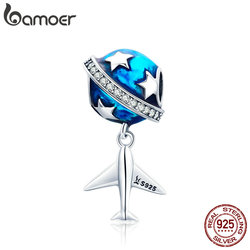 BAMOER Real 925 Sterling Silver Sparkling Star And Plane Dream Clear CZ Blue Enamel Charms fit Bracelets DIY Jewelry SCC887