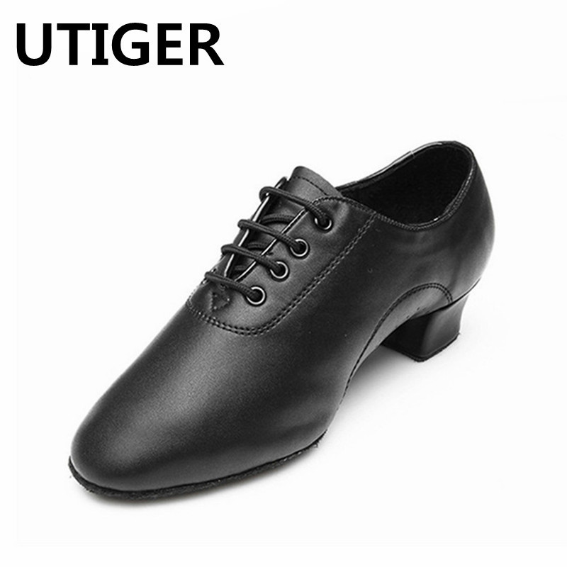 2017 Modern Children Boys Men's Ballroom Latin Tango Dance Shoes Man Salsa Heeled Black Dancing Shoes Big Size 25-45 Top WD038
