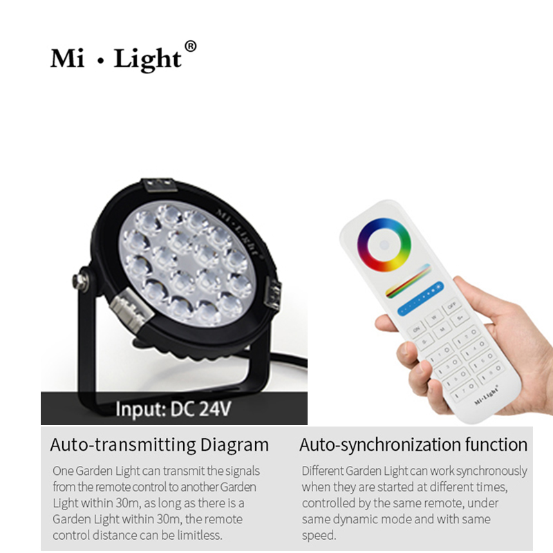 MiLight 9W RGB+CCT LED Garden Light DC24V/AC86~265V IP65 Waterproof Outdoor LED Lighting WiFi Compatible 2.4G Wireless Remote
