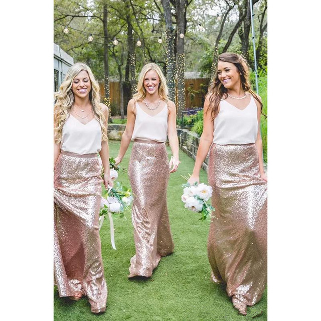 2017 White And Rose Gold Sequins Country Bridesmaid Dresses Two Tone Formal Party Gowns Plus