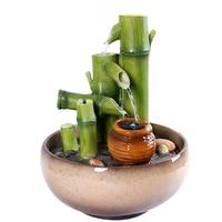 110/220 В ручной работы из смолы бамбуковый фонтан для воды, офисный чайный набор кунг фу, украшение, водный пейзаж, Очищающий воздух, подарки на