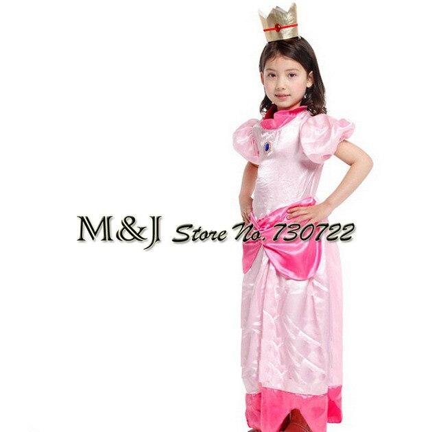 משלוח חינם!! חג המולד ליל כל הקדושים בנות אלגנטי אפרסק נסיכת שמלת קוספליי שלב פסטיבל תחפושות