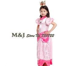Frete grátis!! natal dia das bruxas meninas elegante pêssego princesa vestido cosplay trajes do festival de palco