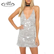 yilia 2016 Women Sexy Gray Sequined Bodycon Camis Dress Summer Deep V Backless Cross Straps Mini Party Dresses Night Clubwear