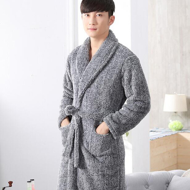 luxury mens bathrobes autumn winter thick coral fleece bath robe male sleepwear pyjama homme dressing gown - Mens Bathrobes