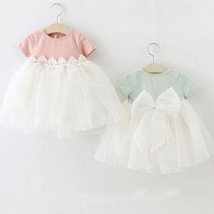 Pudcoco księżniczka Baby Girl Dress Party urodziny sukienka koronki kwiatowy chrzest Vestido Infantil łuk tiulowa suknia ślubna noworodka