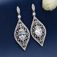 Tuliper 925 Sterling Silver Rhombus Bridal Earrings Cubic Zircon Earrings For Wedding Accessories Bridesmaid Jewelry Gift