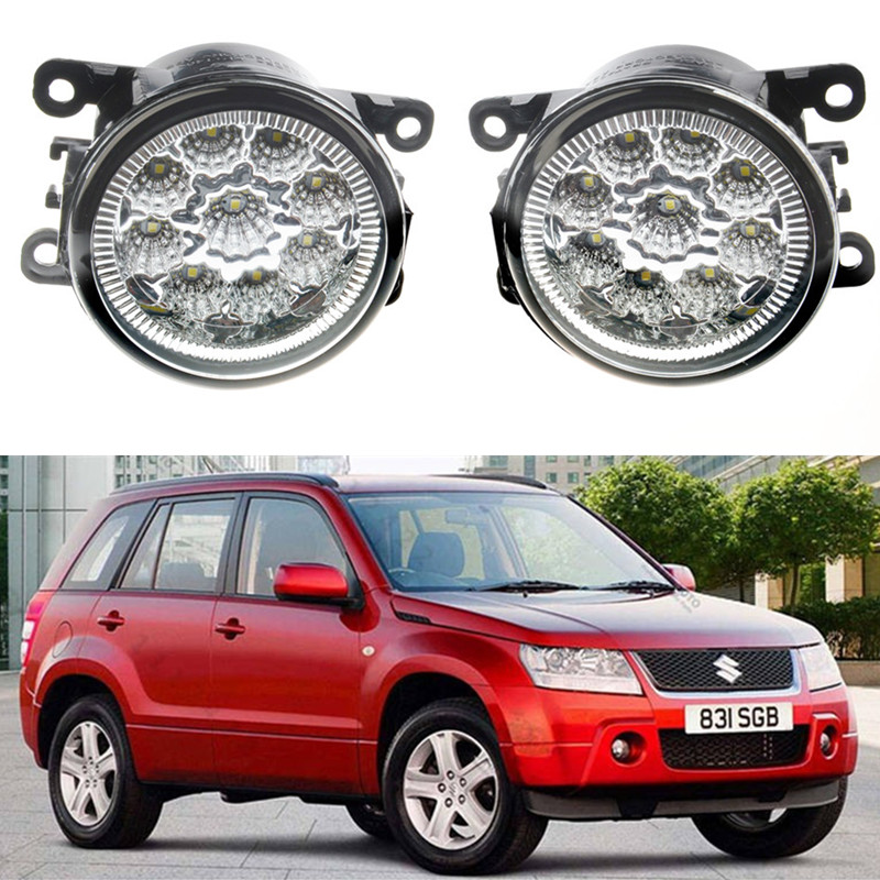For Suzuki Grand Vitara JIMNY FJ IGNIS II SWIFT SPLASH ALTO 1998-2015 Car styling LED Fog Lamps DRL Lights 1set cawanerl 1 pair car styling led light fog lamp daytime running light drl dc 12v for suzuki alto grand vitara jimny sx4 splash