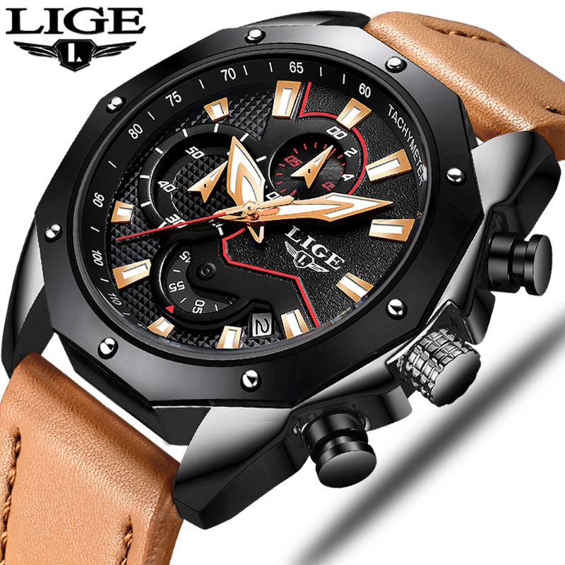 2018 The New LIGE Mens Watches Top Brand Luxury Military Sports Watch Men Casual Leather Quartz Wristwatch Relogio Masculino