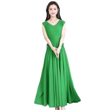 Vestido verde mujeres blanco negro rojo 10 colores 3XL4XL vestidos de gasa de talla grande 2019 nuevo verano coreano cuello en V ajustado Maxi vestido CX910