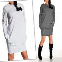 DERUILADY 2018 Women Winter Dress Casual Long Sleeve O Neck Dress Fashion Pocket Plus Size Dresses
