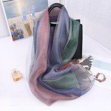 Женские шарфы, Двусторонний Шелковый мягкий длинный шарф с каменной цепочкой, новинка, женские шали, шарфы