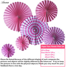 6pcs pink Cheap Paper Fans For Wedding Tissue Paper Fans Flowers Birthday Party Holiday