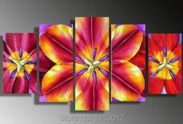 Лидер продаж современный красная лилия цветок камелии картина маслом на холсте Абстрактная 5 Панель Книги по искусству комплект Домашний Д...