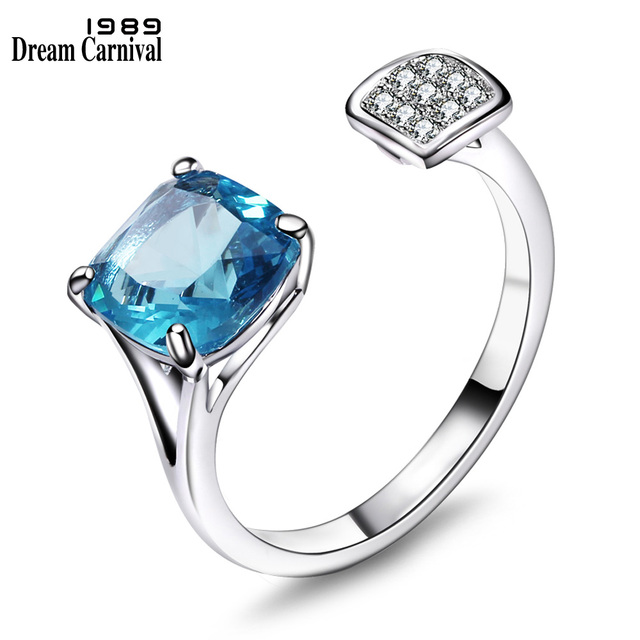 DreamCarnival 1989 Sparkling Blue Zirconia Open Rings for Women Anel mulheres En