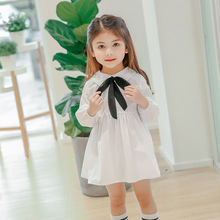 2018 New Arrival Baby Girls Spring Solid Dress Fashion Kids Princess Party Bow-knot  Dresses Children Clothing