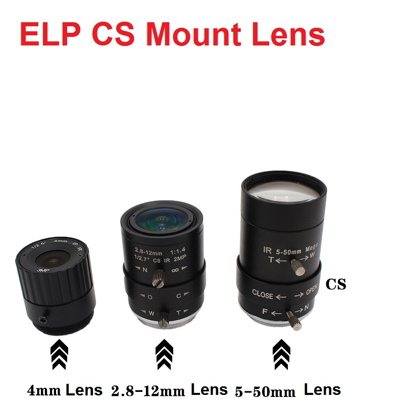 ELP CS Mount 2.8-12mm/5-50mm /6-60mm Manual Varifocal Lens 4/6/8/12mm CS Fixed Focus Lens