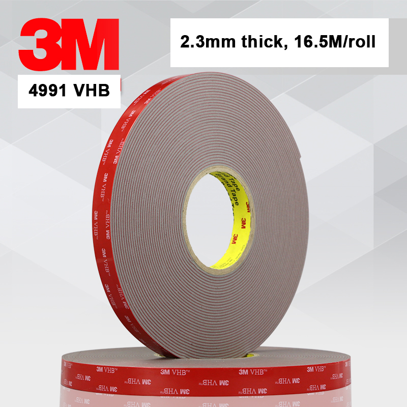 3M VHB tape 4991 Double Sided Adhesive Acrylic Foam Mounting Tape Gray 2.3mm Thickness 15mm width 16.5 meters length3M VHB tape 4991 Double Sided Adhesive Acrylic Foam Mounting Tape Gray 2.3mm Thickness 15mm width 16.5 meters length