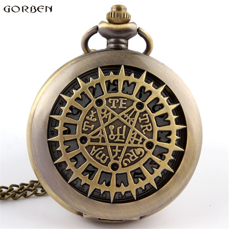 Retro Bronze Pocket Watch Number Charm Vintage Hollow Pentagram Quartz Pocket Watch Necklace FOB Chain Pendant Men Women Gifts