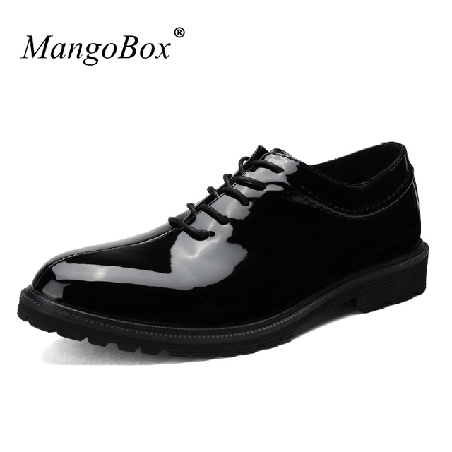 Male Wedding Sneakers Black White Oxford Shoes For Men Pointed Toe Mens Dress Patent Leather
